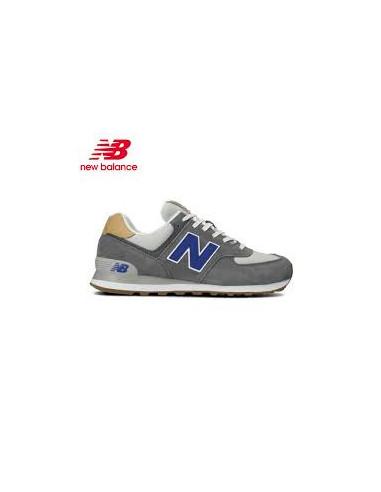 New Balance 574 Gris/Azul/Cuero